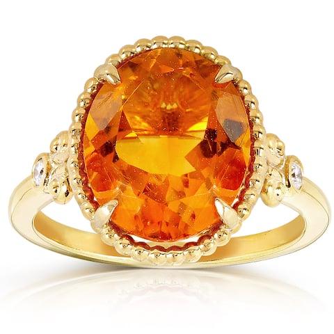 Annello by Kobelli 14k Goldplated Silver Oval Orange Citrine Diamond Accent Ring (G-H, I1
