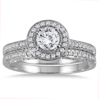 Marquee Jewels 14k White Gold 7/8ct TDW Diamond Halo Bridal Set (3 options available)