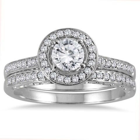 Marquee Jewels 14k White Gold 7/8ct TDW Diamond Halo Bridal Set