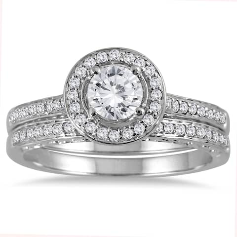 Marquee Jewels 14k White Gold 7/8ct TDW Diamond Halo Bridal Set