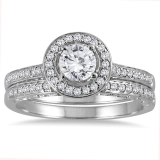 Marquee Jewels 14k White Gold 7/8ct TDW Diamond Halo Bridal Set (I-J, I2-I3)
