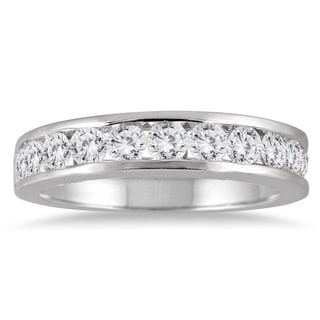 Marquee Jewels 10k White Gold 1ct TDW Channel-set Round-cut White Diamond Ring