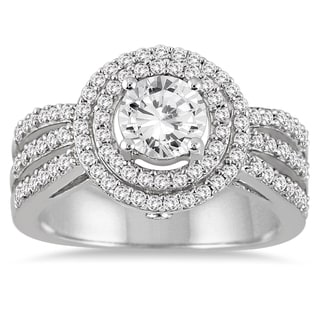 Marquee Jewels 14k White Gold 1 1/5ct TDW Diamond Halo Engagement Ring