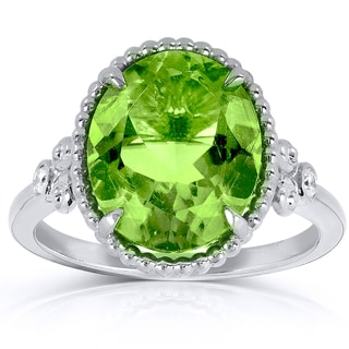 Annello 14k Goldplated Silver Oval Peridot Diamond Accent Ring (G-H, I1-I2)