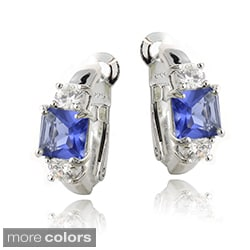 Icz Stonez Sterling Silver Princess Colored CZ Earrings