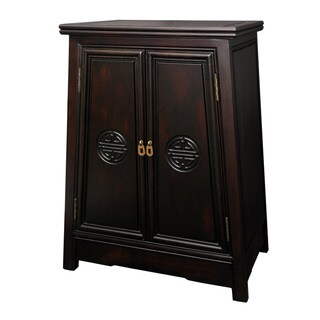 Handmade Merbu Wood 'Long Life' Oriental Cabinet (China)