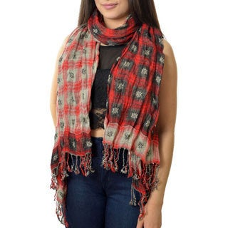 LA 77 Women's Reversible Plaid Wrap Scarf