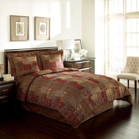 Croscill Galleria Red Opulent Chenille Jacquard Woven 4-Piece Comforter Set