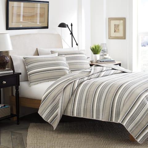Stone Cottage Fresno Neutral Stripe Cotton 3-piece Quilt Set