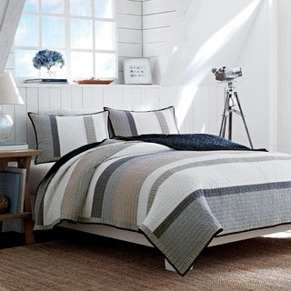 Nautica Tideway Neutral Stripe Cotton Reversible Quilt