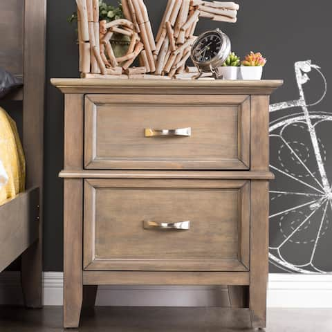 Furniture of America Hyla Transitional Oak Solid Wood Nightstand