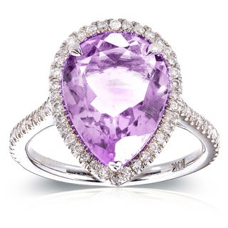 Annello 10k White Gold Pear-shape Lavender Amethyst and 1/3ct TDW Diamond Halo Ring (G-H, I1-I2)