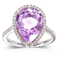 Annello by Kobelli 10k White Gold Pear-shape Lavender Amethyst and 1/3ct TDW Diamond Halo Ring