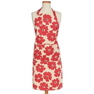 MUkitchen Red Poppy Cotton Apron with Adjustable Straps