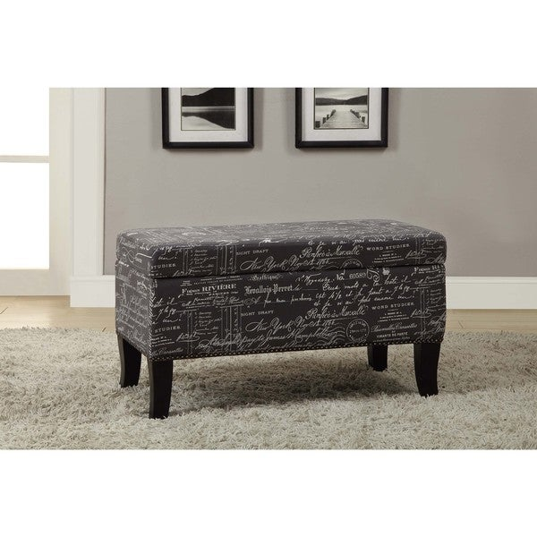 Linon Patrice Storage Ottoman with Gray Linen - Linon Patrice Storage Ottoman With Gray Linen - Free Shipping