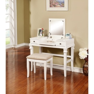 Linon Ariana Beautification Set - Ivory Vanity Table, Stool & Flip Top Mirror