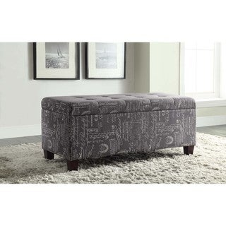 Linon Yolanda Cursive Print Tufted Flip-Top Ottoman with Shoe Storage
