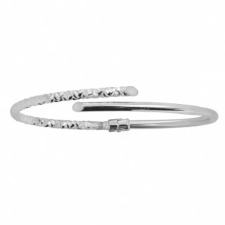 Fremada 10k White Gold 3mm Polish and Diamond-cut Bypass Bangle