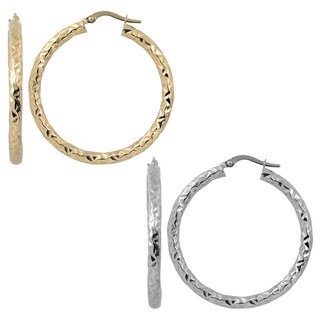 Fremada 10k Yellow Or White Gold 3x30 Mm Diamond Cut Round Hoop Earrings