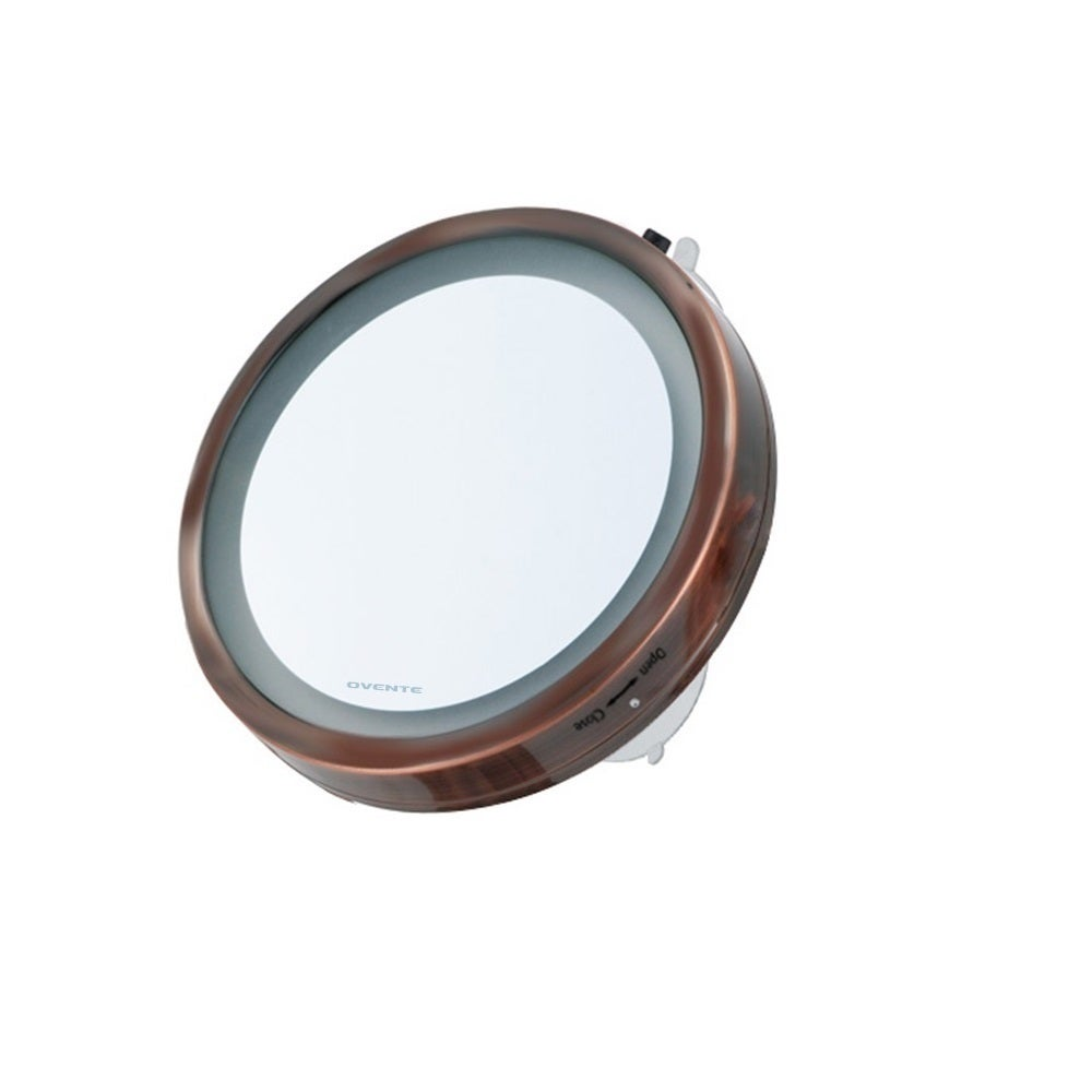 Ovente LED Lighted Suction Cup 8x Magnifiying Mirror (Cop...