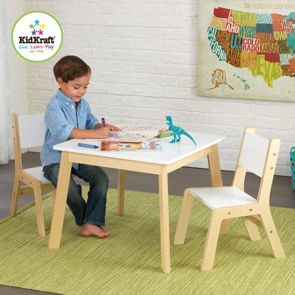 Cool Shop Kidkraft 3 Piece White And Natural Modern Table And Bralicious Painted Fabric Chair Ideas Braliciousco