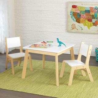 kidkraft 3 piece white and natural modern table and chair set