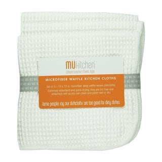 MUkitchen White Microfiber Waffle Dishcloths (Set of 3)