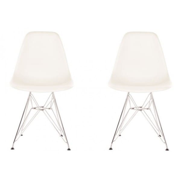 Contemporary Retro Molded White Accent Plastic Dining Shell Chairs with Steel Eiffel Legs (Set of 2). Opens flyout.