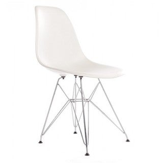 Contemporary Retro Molded White Accent Plastic Dining Shell Chair with Steel Eiffel Legs