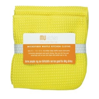 MUkitchen Lemon Waffle Microfiber Dishcloths (Set of 3)