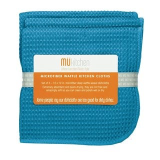 MUkitchen Sea Blue Waffle Microfiber Dishcloths (Set of 3)