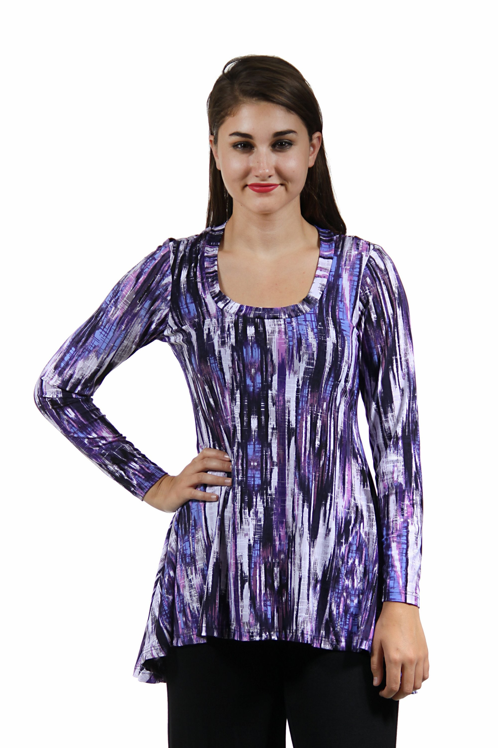 24/7 Comfort Apparel Women's Cool Abstract Printed Tunic