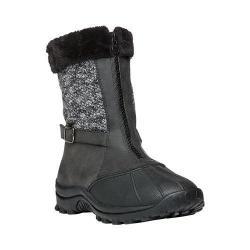 Women's Propet Blizzard Mid Zip Boot Black/Black Knit Leather