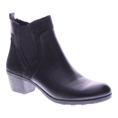 Women's Spring Step Pousada Ankle Boot Black Leather/Suede