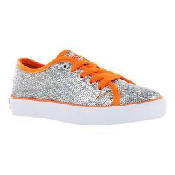 Girls' Gotta Flurt Pizzazz G Sneaker Silver Sequin/Coral Pu