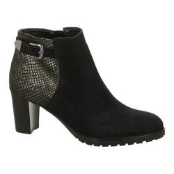 Women's ara Grand 44135 Ankle Boot Black Suede/Gun Metallic Snake