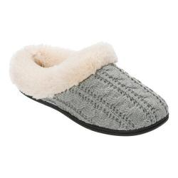 Women's Dearfoams Cable Knit Clog Slipper with Plush Cuff Light Heather Grey