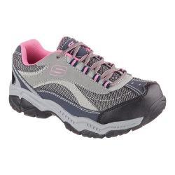 Women's Skechers Work Relaxed Fit Doyline Steel Toe Sneaker Gray/Pink