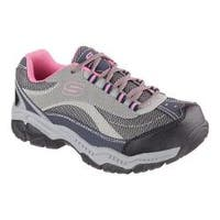 Women's Skechers Work Relaxed Fit Doyline Steel Toe Sneaker Gray/Pink