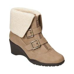 Women's A2 by Aerosoles Music Tor Bootie Tan Fabric/Faux Fur