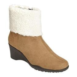 Women's Aerosoles Factory Cuff Bootie Taupe Combination Faux Suede/Faux Fur