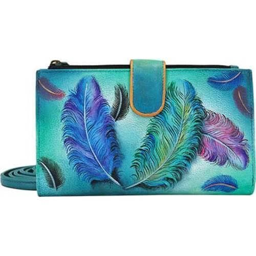 Shop Women s Anuschka Large Smart Phone Case   Wallet Floating Feathers -  Free Shipping Today - Overstock - 10622107 e192d98e0