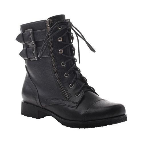 Women's Madeline Girl No Rush Biker Boot Black Textile