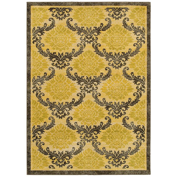 LR Home Antigua Gold/ Brown Floral Area Rug - 5'3 x 7'5