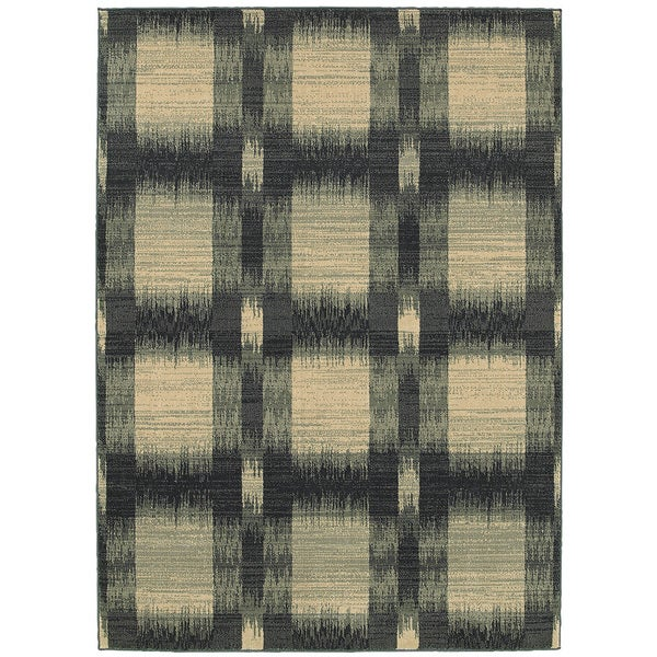 LR Home Antigua Blue Checkered Area Rug ( 5'3 x 7'9 ) - 5'3 x 7'9