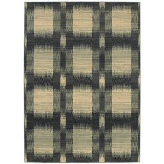 LNR Home Antigua Blue Checkered Area Rug (5'3 x 7'5)