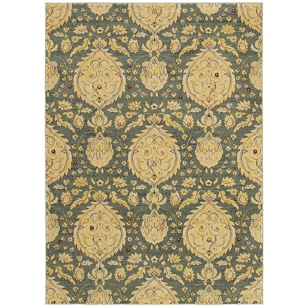 LR Home Antigua Blue Floral Area Rug - 9'2 x 12'6