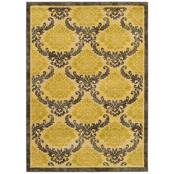 LR Home Antigua Gold/ Brown Floral Area Rug (9'2 x 12'6) - 9'6 x 12'6