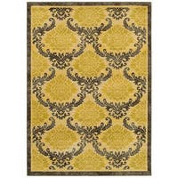 LR Home Antigua Gold/ Brown Floral Area Rug - 9'6 x 12'6