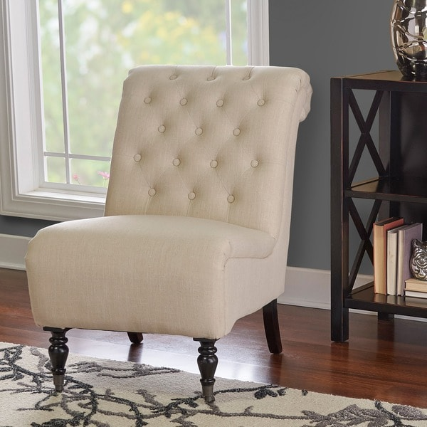 Linon Sophie Cream Fabric Tufted Back Accent Chair, Dark Espresso Legs - Linon Sophie Cream Fabric Tufted Back Accent Chair, Dark Espresso